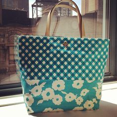 Kate Spade gingham and floral tote.