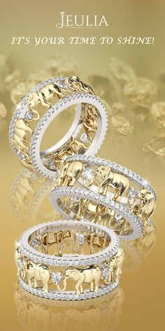 Jeulia Two Tone Round Cut Created White Sapphire Elephant Band #Jeulia