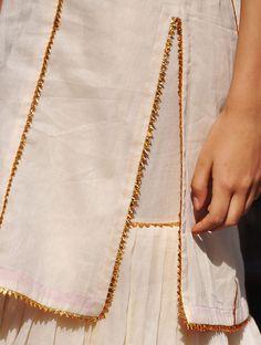 Items similar to Ivory and gold sharara set on Etsy Kurti Neck Designs, Sleeve Designs, Blouse Designs, Salwar Designs, Designer Punjabi Suits, Indian Designer Wear, Pakistani Dress Design, Pakistani Dresses, Embroidery Suits