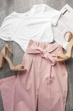 pretty in pink 💘 get the look & more for up to off with code: 💕 search: 'bambi white crop top' 'florentine blush paperbag… Cool Summer Outfits, Cute Casual Outfits, Girly Outfits, Pretty Outfits, Stylish Outfits, Stylish Eve, Stylish Clothes, Work Outfits, Beautiful Outfits