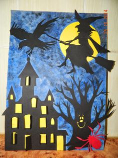 Art Halloween, Masque Halloween, Halloween Arts And Crafts, Halloween Crafts For Toddlers, Halloween Silhouettes, Toddler Halloween, Halloween Activities, Manualidades Halloween, Adornos Halloween