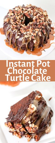 Making Instant Pot Chocolate Turtle Cake is easy, delicious, and frankly the best cake! It's moist and decadent, and done in less than 45 minutes! Easy No Bake Desserts, Great Desserts, Delicious Desserts, Yummy Food, Yummy Recipes, Homemade Desserts, Vegan Recipes, Chocolate Turtle Cakes, Trifle Pudding