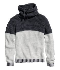 Gray & black color-blocked sweater with wool-blend knit and drawstring chimney collar.│ H&M Divided Guys