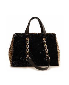 Colorblocked & Sequined Chain Shoulder Bag   BlackFive