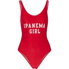 Adriana Degreas - Ipanema Girl Printed Swimsuit ($148) ❤ liked on Polyvore featuring swimwear, one-piece swimsuits, red, swim costume, bathing suit swimwear, swim suits and red swim suit