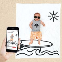 Capture baby's growth on this cute baby surfer scene backdrop!