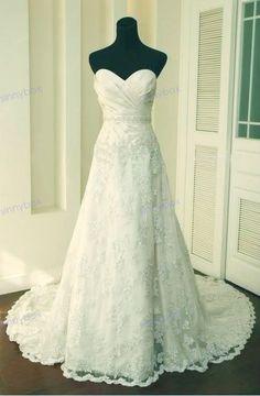 A Line Sweetheart Wedding Dresses Fahion Lace Wedding by SinnyBox, $199.99