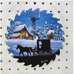 free images to paint on sawblades | ... Round 7' sawblade Winter scene Barn Amish horse & buggy FREE SHIPPING