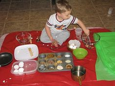 Pretend baking with real ingredients. My kids would love this but we would need a much bigger tarp!!
