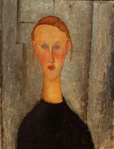 Amedeo Modigliani (It, - Girl with Blue Eyes - 1918 - McNay Art Museum - San Antonio , Texas (United States) Amedeo Modigliani, Modigliani Paintings, Italian Painters, Italian Artist, Gustav Klimt, A4 Poster, Poster Prints, Paul Gauguin, Vintage Artwork