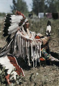 """Montana - An informal portrait of the Indian named """"White man runs him"""", Crow Indian Reservation"""