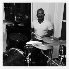 Cesar drumming at Nayib Estefan's house over the weekend! #miami