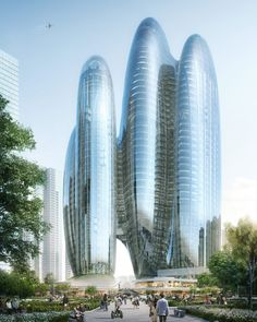 Zaha Hadid Architects wins design for OPPO's new headquarters in Shenzhen with futuristic glass towers Zaha Hadid Architects, Architectes Zaha Hadid, Famous Architects, Lebbeus Woods, China Architecture, Futuristic Architecture, Architecture Office, Office Buildings, Parametric Architecture