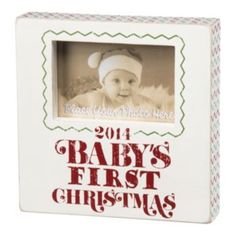"""""""Baby's First Christmas"""" 4"""" x 6"""" Wooden Box Frame"""