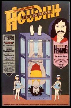 Seymour Chwast, poster for magician Doug Henning, 1973. No inicío da década de 70, os elementos característicos do estilo de Chawst eram evidentes. Este poster do mágico canadiano Doug Henning , que reavivou os virtuosos truques de magia de Houdini é tipico. O seu uso de cores planas, outlines e de um imaginário alegre era concebido para tornar o design agradável.