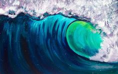 Beginner Acrylic art lesson How to paint a Wave Step by step with The Ar...