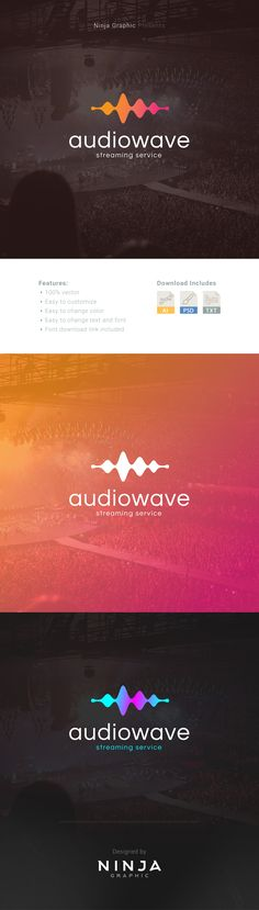 Audio Wave Logo Template - This logo is a perfect choice for the businesses like music streaming, production house or anything related to music.