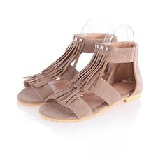 FeeBee Womens Floral Thong Ankle Strap Yoga Flat Sandals Apricot 42 EU  10105 US * Visit the image link more details.