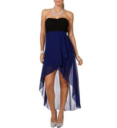 Black/Royal Hi Lo Dress