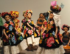 A big party for little dolls wearing typical clothing from the Isthmus of Tehuantepec of Oaxaca. Zuno de Echeverria collection of dolls