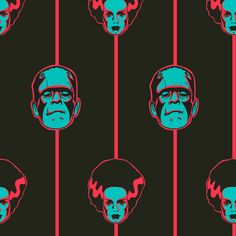 Frankenstein and Bride of Frankenstein print fabric by sugarxvice on Spoonflower (horror, Mary Shelley, B-movie, Hammer Horror, Universal Monsters)