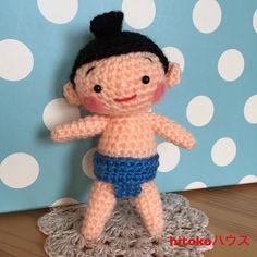 どすこいっ☆お相撲さん。 #あみぐるみ#かぎ針編み#おすもうさん#ヒトガタ