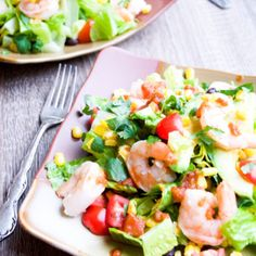 Spice up dinner with this easy grilled shrimp and corn salad recipe topped with low-fat creamy chipotle dressing.