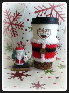 Cute teacher gift with gift card for coffee  Santa Jacket Coffee Sleeve Coffee Cozy by CuddleMeWarm on Etsy, $6.50