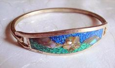 Vintage Sterling Silver Green And Turquoise Inlaid by JanEleven, $100.00
