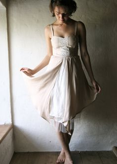 blush Wedding dress  - tea length gown fairy dress outdoors wedding ceremony