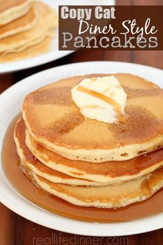 No buttermilk needed, Copy Cat Diner Style Pancakes. SO GOOD!!!