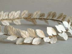 Paper Leaf headband - Antique white rustic wedding crown - Made of mulberry leaves - Handmade by Squish-n-Chips