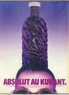 A vintage Absolut Kurant Vodka magazine advertisement featuring a model with a hair-wrapped bottle atop her head. Purple Lilac, Purple Hair, Absolut Kurant, Mad Ads, Cnc Cutting Design, Viral Marketing, Best Ads, Guerrilla, Bedroom Wall