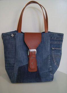 Sac cabas en jean recyclé bleu délavé : Sacs à main par mucyclone