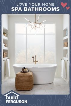 You deserve a little pampering! Choose the lighting, flooring, and fixtures you love to make every day a spa day. Everything you need for your bathroom remodel can be found in one place. Bathroom Spa, Bathroom Renos, Basement Bathroom, Bathroom Remodeling, Bathroom Interior, Master Bathroom, Bathroom Ideas, Cabin Ideas, House Ideas