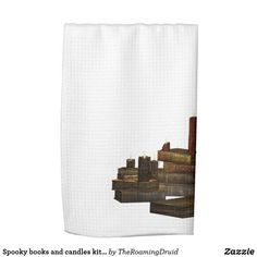 Spooky books and candles kitchen towel - white