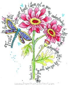 Dragonfly Proverbs | Dragonfly and Daisy Print (Proverbs 3:5-6)