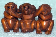 8840e16c7049 Asian NETSUKE Carved Boxwood Reproduction Monkeys Speak Hear See No Evil