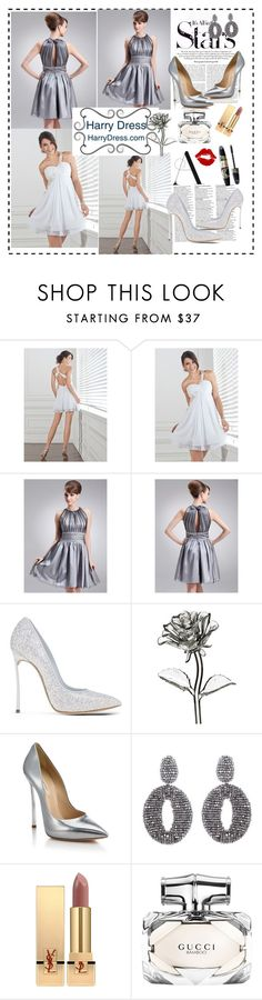 """""""Untitled #65"""" by daisyarias7 ❤ liked on Polyvore featuring Karl Lagerfeld, Casadei, Waterford, Oscar de la Renta, Yves Saint Laurent, Max Factor, Gucci and harrydress"""