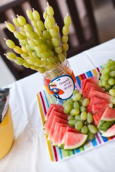 Food from Domestic Charm-great idea to serve grapes at a party...plus watermelon slices on popsicle sticks...