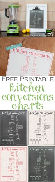 Free printable kitchen conversion charts make cooking easier! Four colors to choose from. Free download from Housefulofhandmade.com.