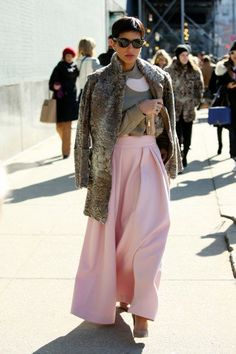 Princess Deena looks stunning as she is pictured on the street outside the Jason Wu fashion show in New York last week.
