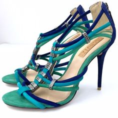 """Schutz Blue Green Straps Heels Beautiful Tropical Style Wraps heels with metal detail. Blue and green color. Geourgeos details on the straps. Upper and sole leather. Back zipper. 4"""" inch heels. Suede texture. Made in brazil. More pictures on demand. #spring SCHUTZ Shoes Heels"""