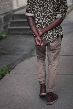 , proprpostur: The Homie // Jargon Statement Desert boot camouflage shirt jeans denim Style fashion men streetstyle