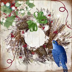 Christmas Painting - Bluebird Christmas II by Mindy Sommers