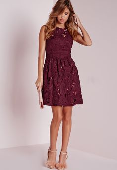 Missguided - Sleeveless Lace Skater Dress Plum