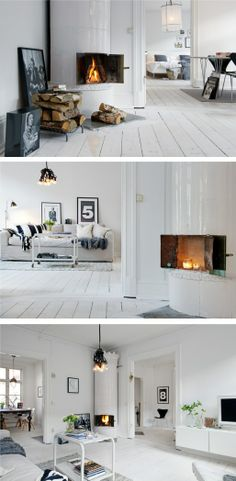 White hardwood floors with hints of black Villa d & # Esta Modern Interior, Interior Styling, Interior Design, White Hardwood Floors, White Wooden Floor, Cosy Fireplace, Love Home, Wooden Flooring, Vintage Home Decor