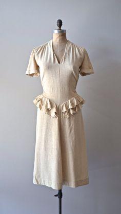 Emmer Wheat vintage 1940 dress / linen 40s dress by DearGolden