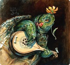Red Ear-ed Turtle playing mandolin with flower in mouth -- very dashing.  via kidpix:  Omar Rayyan