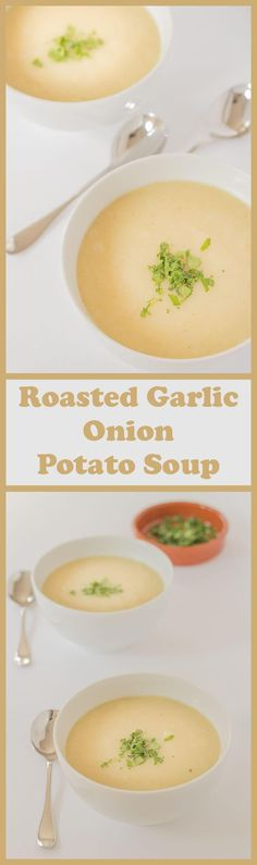 This roasted garlic onion potato soup is made from 6 ingredients, it's vegan and is a perfect way to use up surplus potatoes. It's an easy, tasty variation of the classic potato soup recipe, adding a bit of a twist with the roasted garlic, and it all comes together as a bowl of simple, low cost nourishment!